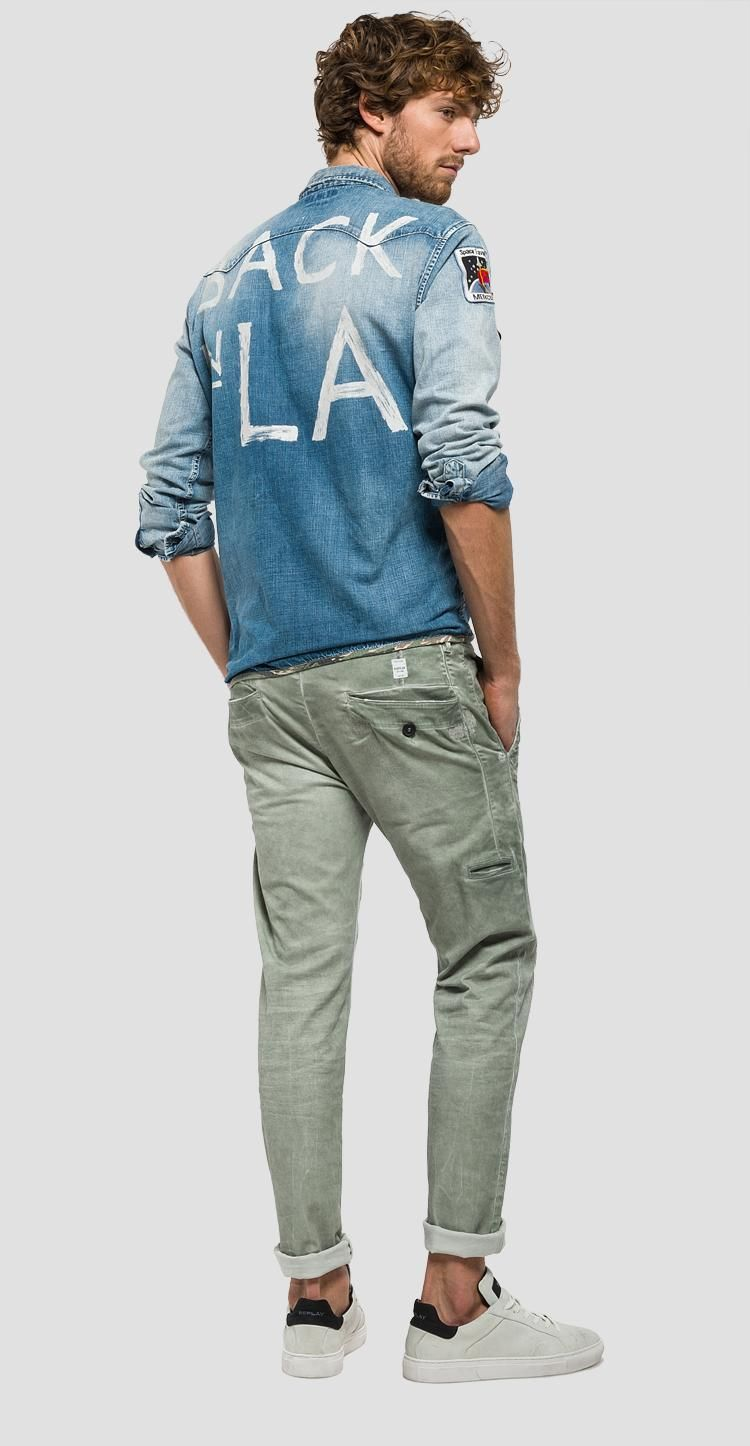 Pantaloni Twill Cotone Shirt In Stretch Di ReplayMens T roBCdxeW