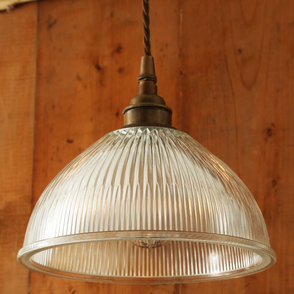 Clean and sleek with an industrial edge the boston industrial holophane pendant is a modern update on a classic light this holophane pendant light will