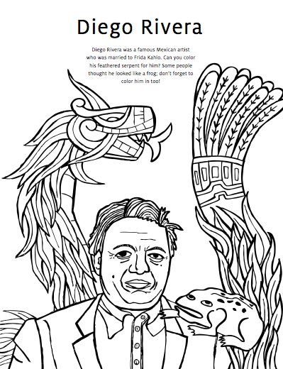 Diego Rivera Coloring Pages & Frida Kahlo Coloring Pages