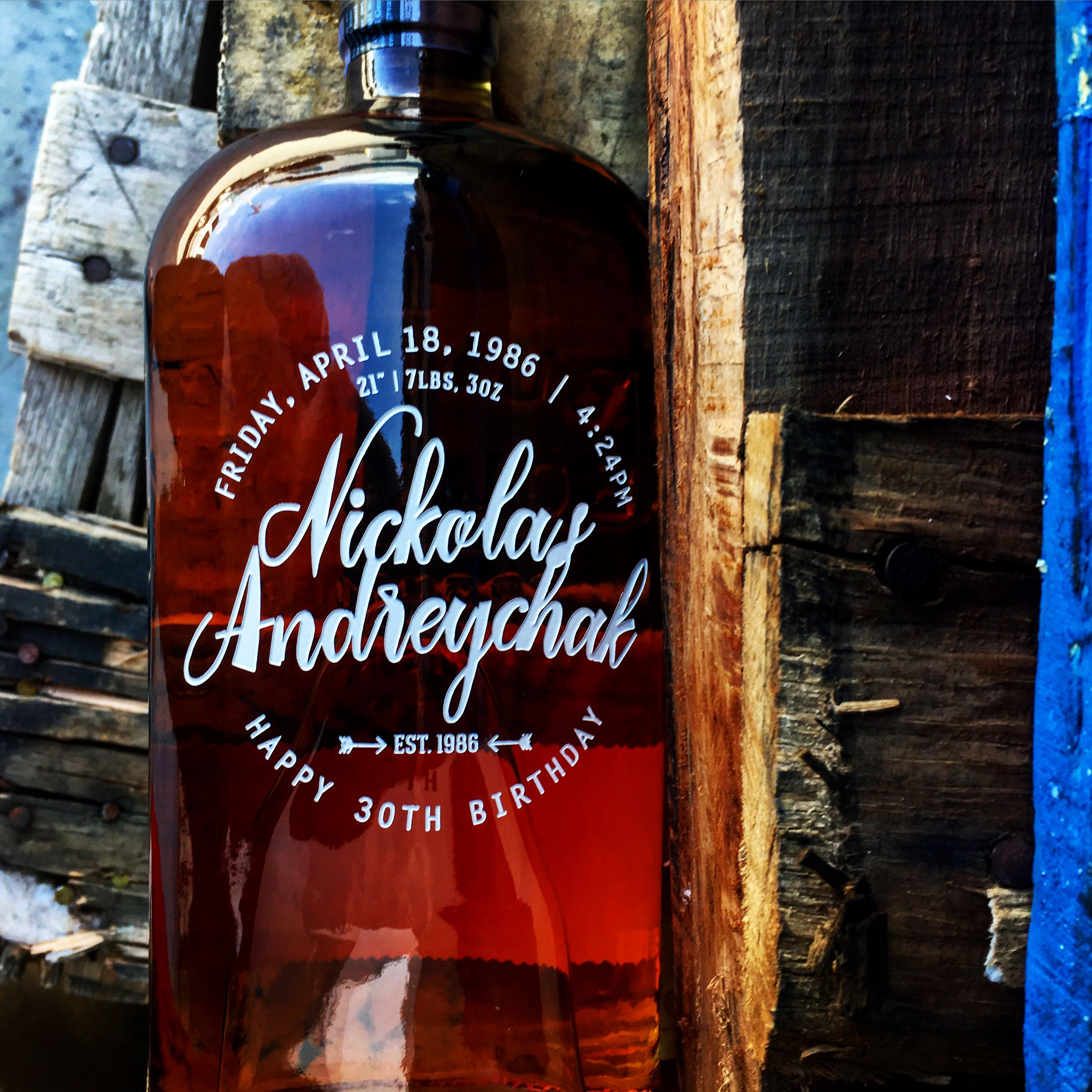 Cool Etched Bottle Of Bulleit Bourbon Great Birthday Gift From Etchingx Com Engraved Wine Bottles Bottle Personalized Wine Bottles