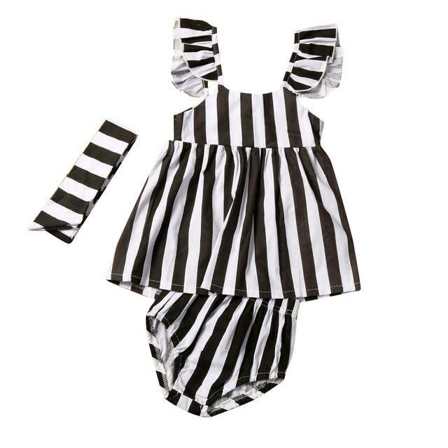 5e76853b0 Summer Girls dress, Baby Girls Striped with Straps Dress, Shorts with  Headband