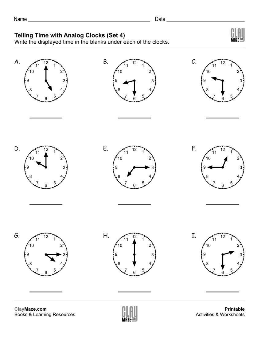 Print this free worksheet on telling time with analog clocks. There are 9  clocks with different times.…   Time worksheets [ 1100 x 850 Pixel ]