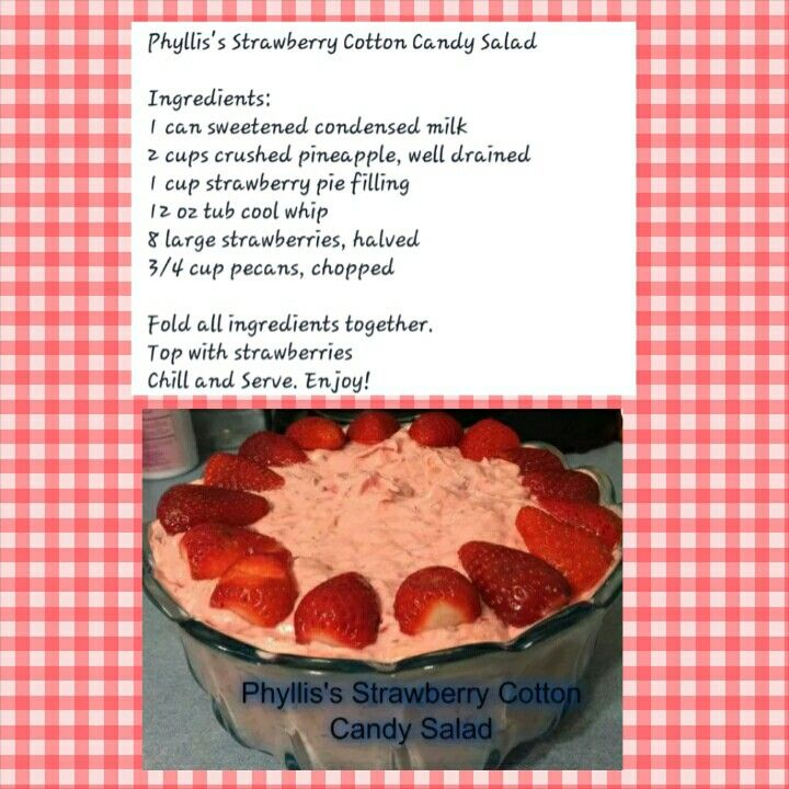 strawberry cotton candy salad yummy desserts pinterest