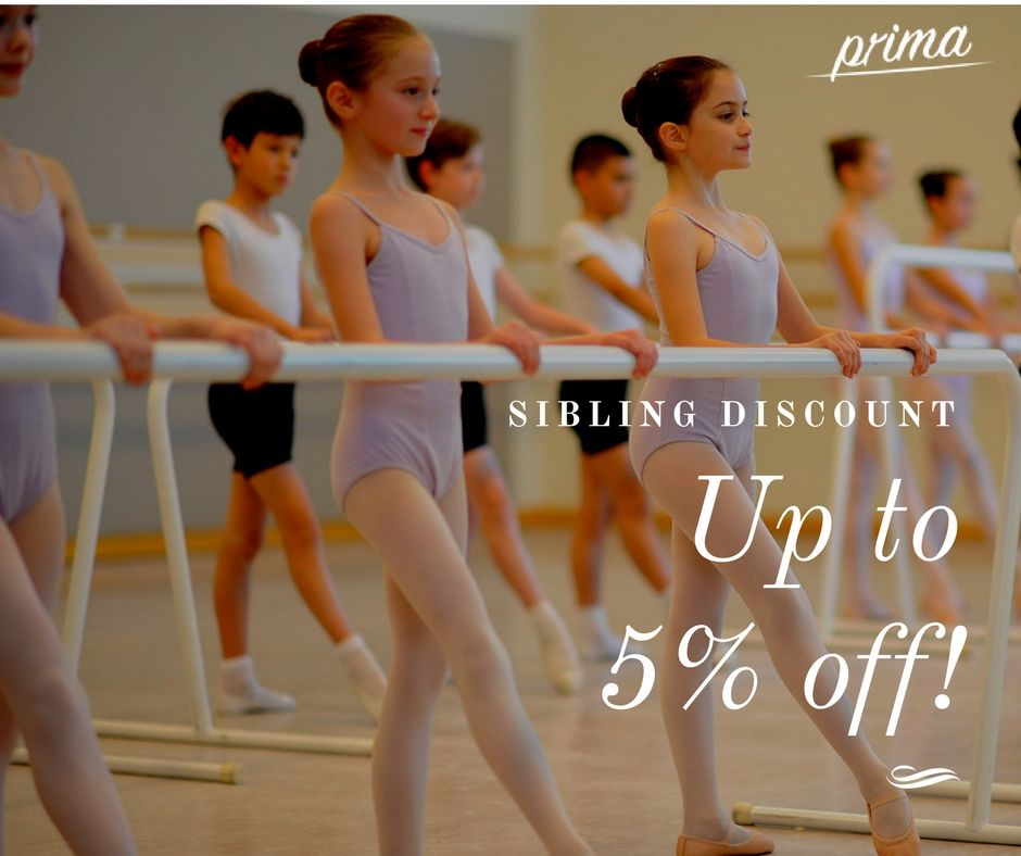 Get sibling discount of 5 on professional dance classes