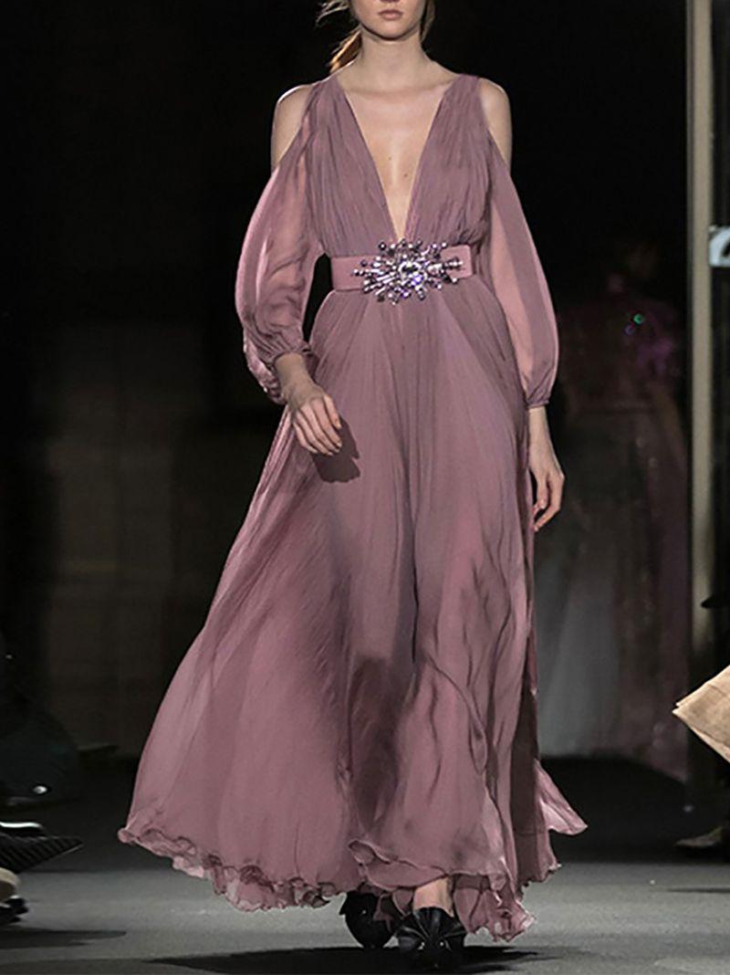 f69746c666 Fashion Ruffled Off-Shoulder Bell Sleeve Chiffon Maxi Dresses – Chicokay