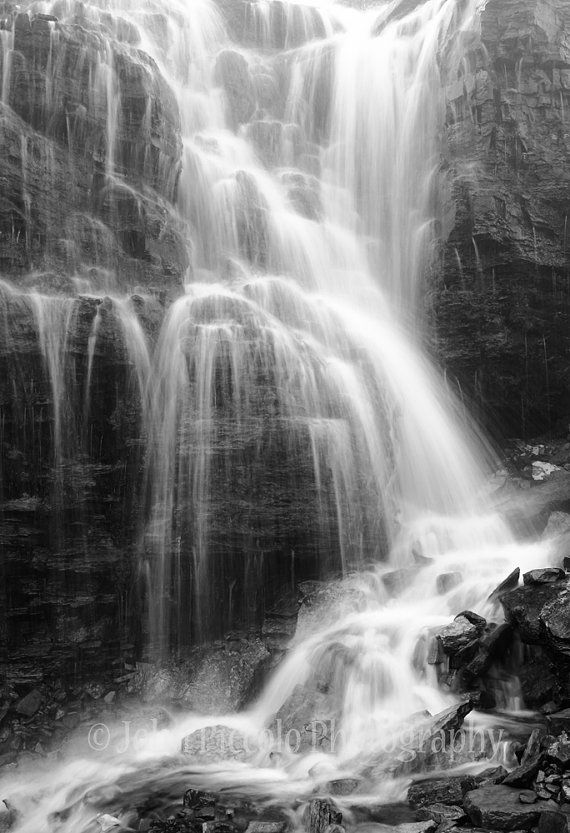 Black and White Glacier Park Waterfall 12 by JPicPhotography, $92.00