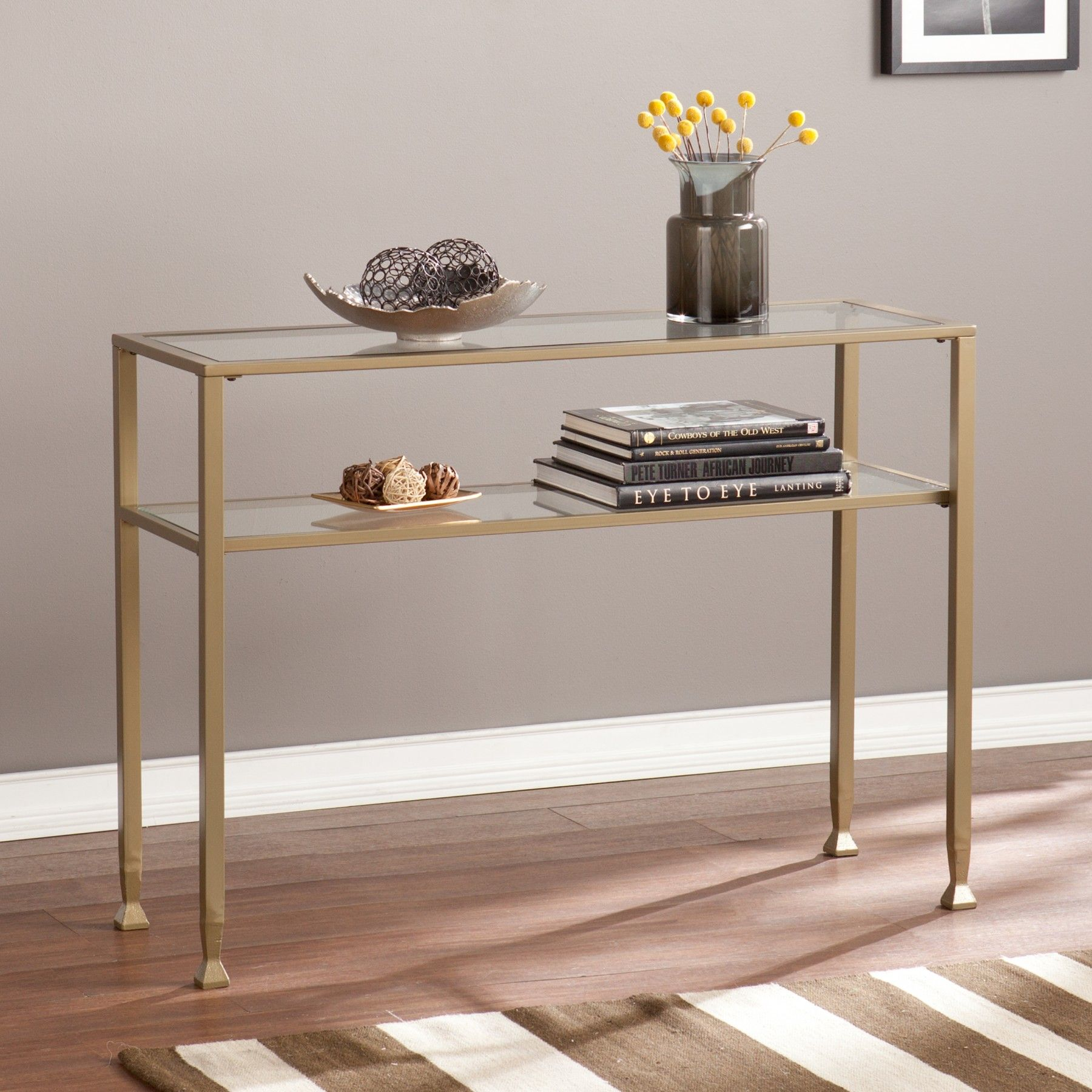 Matte Gold Metal Console Table With Glass Top Brass Console Table Console Table Glass Table