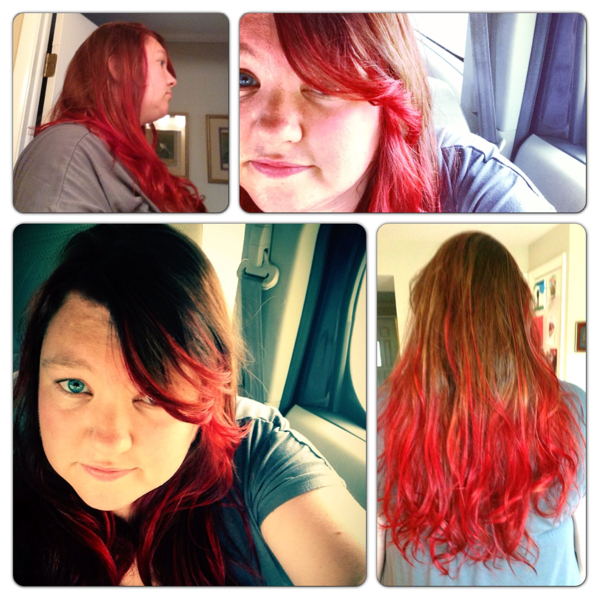 Done at Encore Salon by Joyce. Fairfax, VA. #ombre #red #hair long hair is awesome