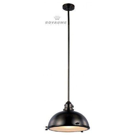 Luminaire suspendu en métal bronze anthracite avec diffuseur blanc