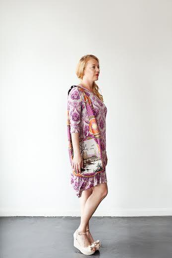 Swing dress and tapestry shoulder bag