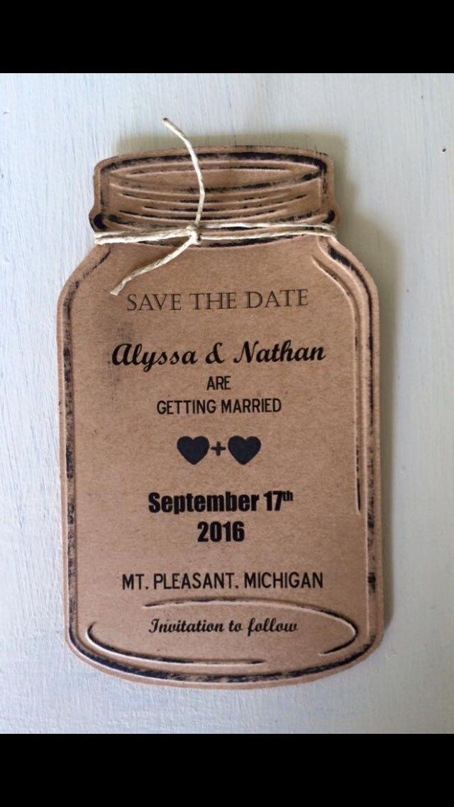 A personal favorite from my Etsy shop https://www.etsy.com/listing/489500450/50-paper-mason-jar-save-the-dates-with
