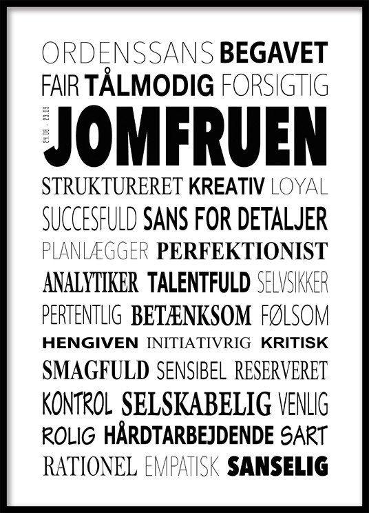 Moderigtigt Jomfruen Plakat - Tekstcollage med stikord   astrology,horoscopes XN58