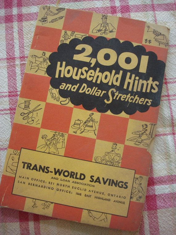 Vintage Household Hints Book, 1957, 2,001 Household Hints and Dollar Stretchers, Everything You Need to Know, Fun Mid Century Read #cookingandhouseholdhints