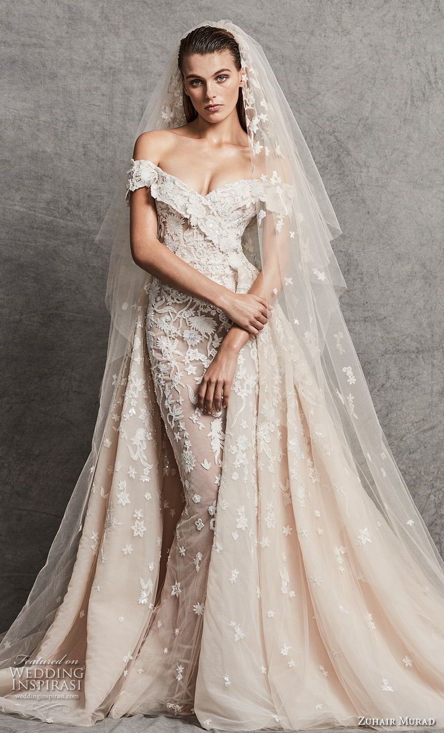 Zuhair murad fall 2018 wedding dresses pinterest chapel train zuhair murad fall 2018 bridal off the shoulder v neck full embellishment elegant fit and flare junglespirit Images