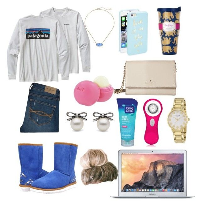 """Chilling"" by classically-kendall ❤ liked on Polyvore featuring UGG Australia, Kate Spade, Patagonia, Abercrombie & Fitch, Clean & Clear, Clarisonic, Kendra Scott and Eos"