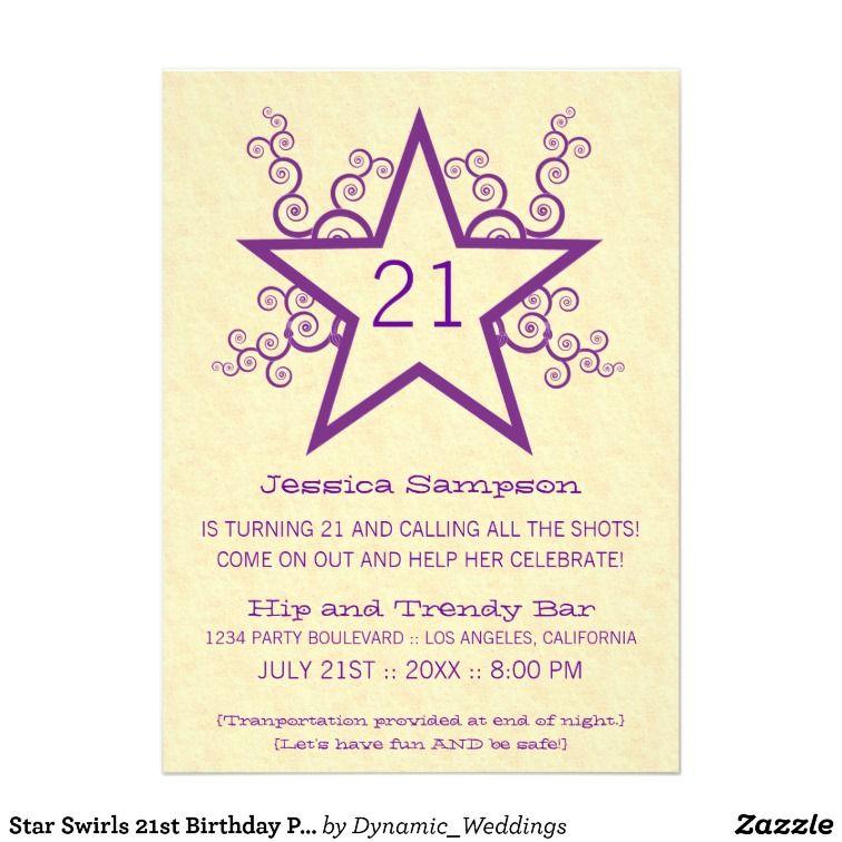 Star Swirls 21st Birthday Party Invitation, Purple | party ideas ...