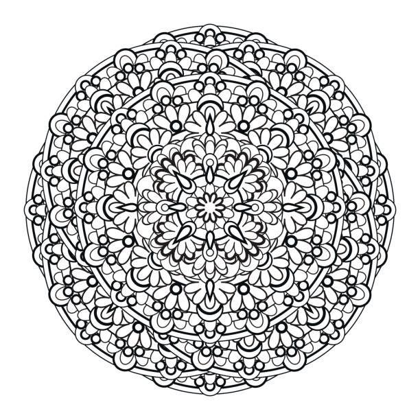 contour, monochrome Mandala. ethnic, religious design element….