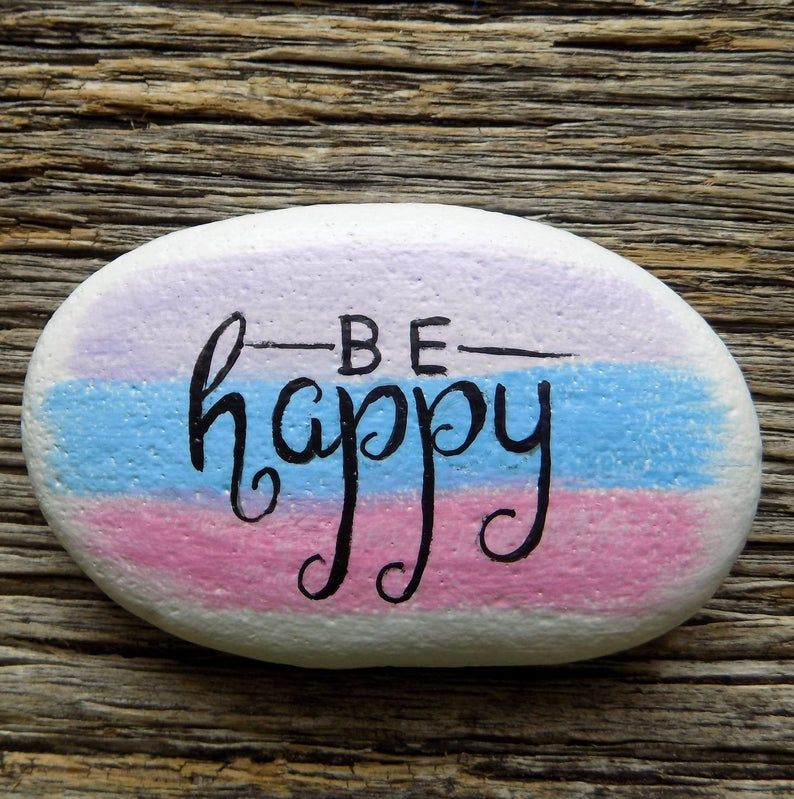 Be Happy Painted Rock,Decorative Accent Stone, Paperweight