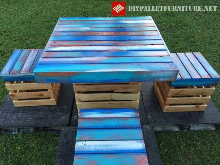 como hacer mesas y sillas con palets