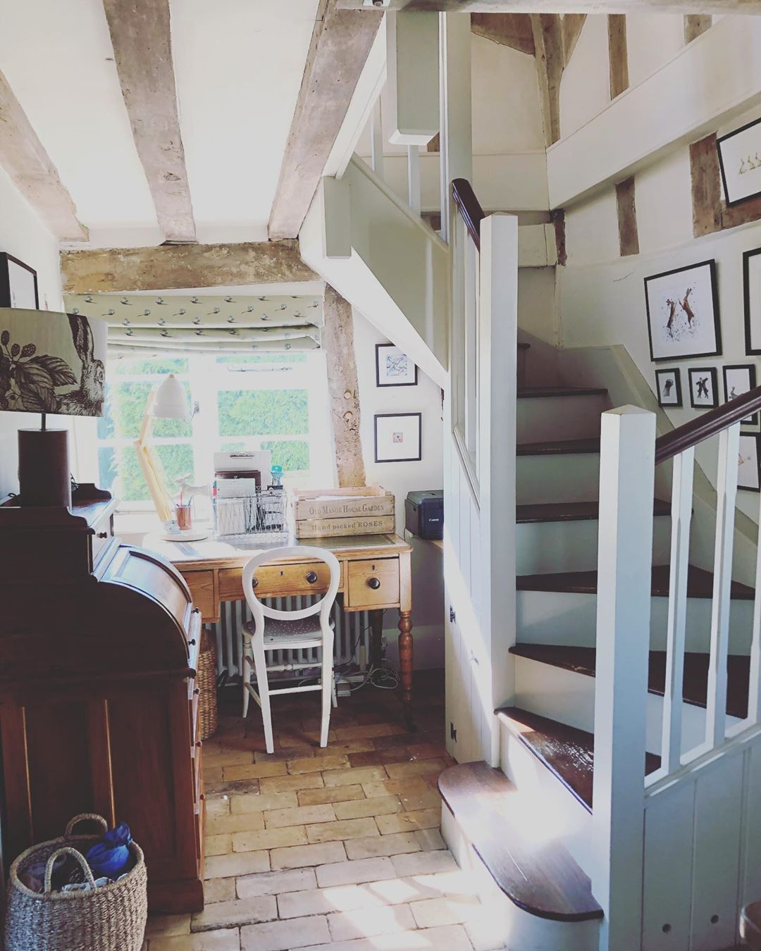 """Jane on Instagram: """"Morning, sunny Monday , hope it is too where you are . Have a lovely day x😘❤️ #countrycottage #hallway #countryhome #desk #brickfloor…"""""""
