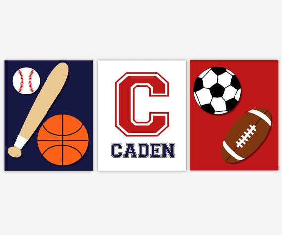 SPORTS Baby Boy Nursery Wall Art Monogram Baseball Basketball Boys Room Sport Prints Playroom
