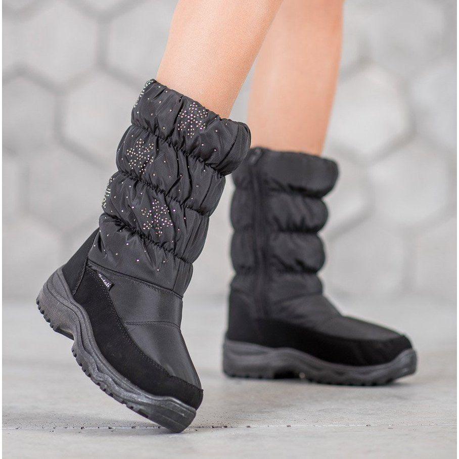 Shelovet Cieple Sniegowce Na Platformie Czarne Boots Winter Boot Shoes