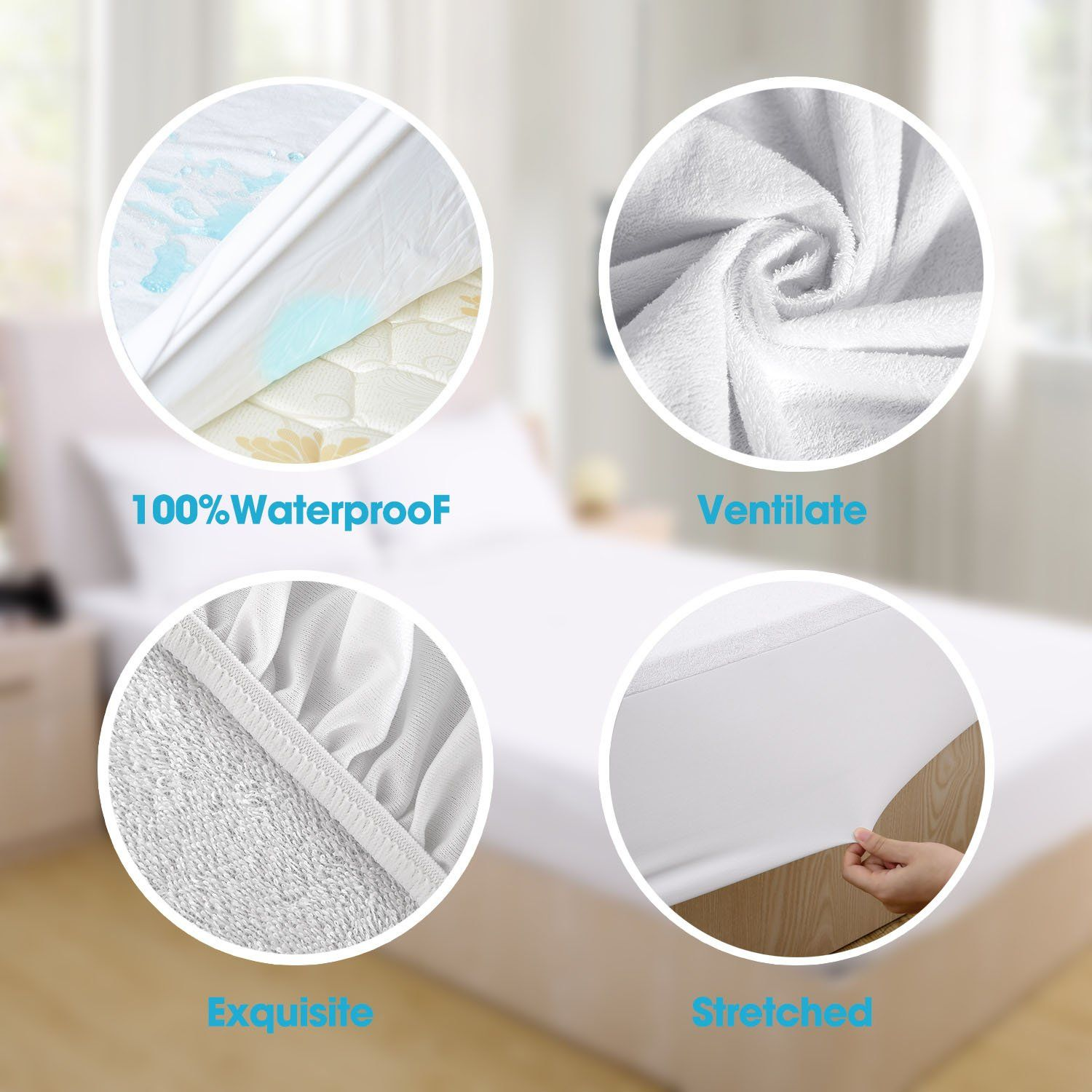 Bed Bug Proof Cover Deconovo Queen Size Mattress Protector Terry Surface Bed Bug Proof