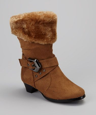 Look what I found on #zulily! Tan Faux Fur Cuff Boot by Anna Shoes #zulilyfinds