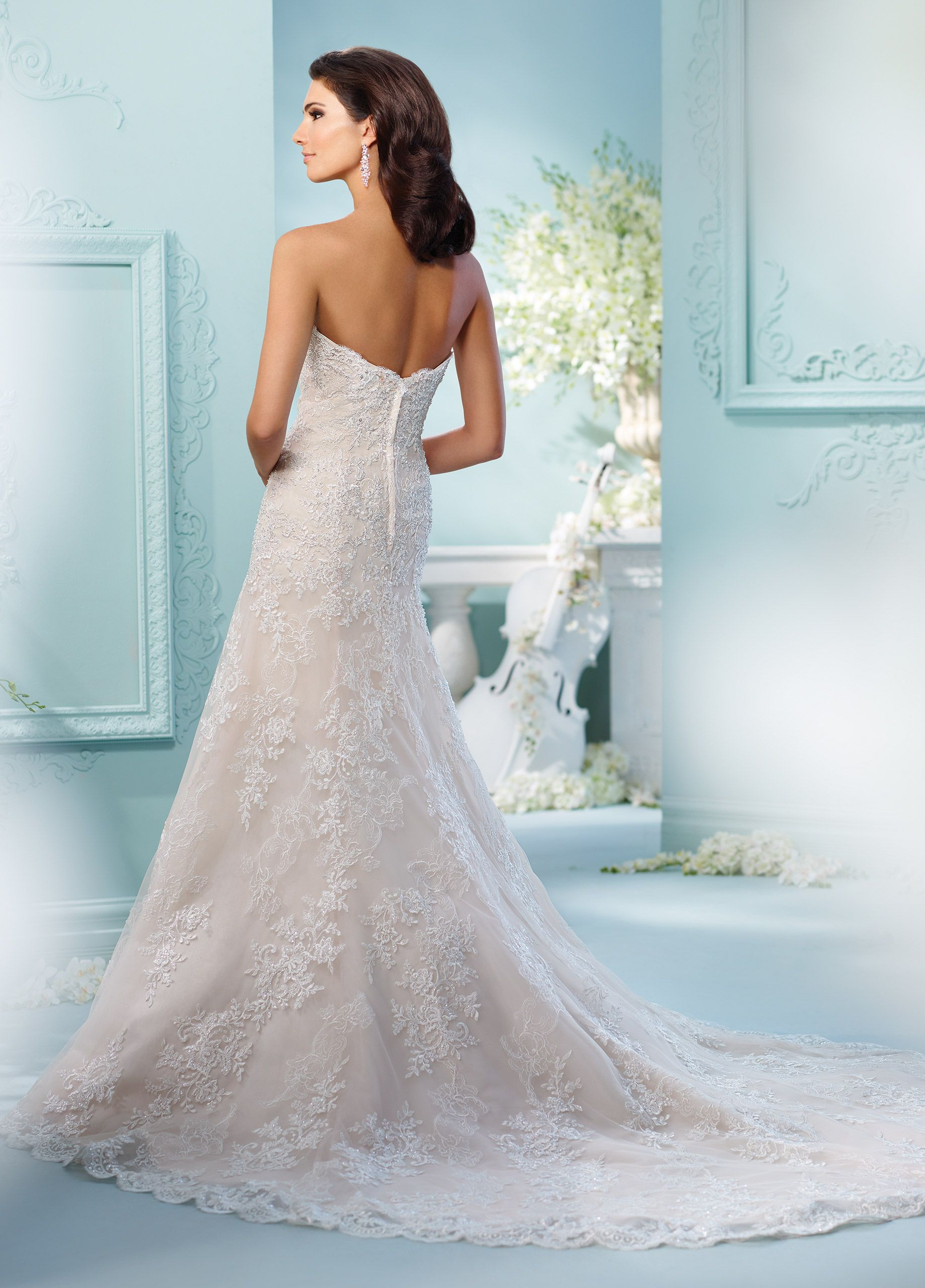 Lace wedding dress halter  Strapless Embroidered Lace Fit u Flare Wedding Dress
