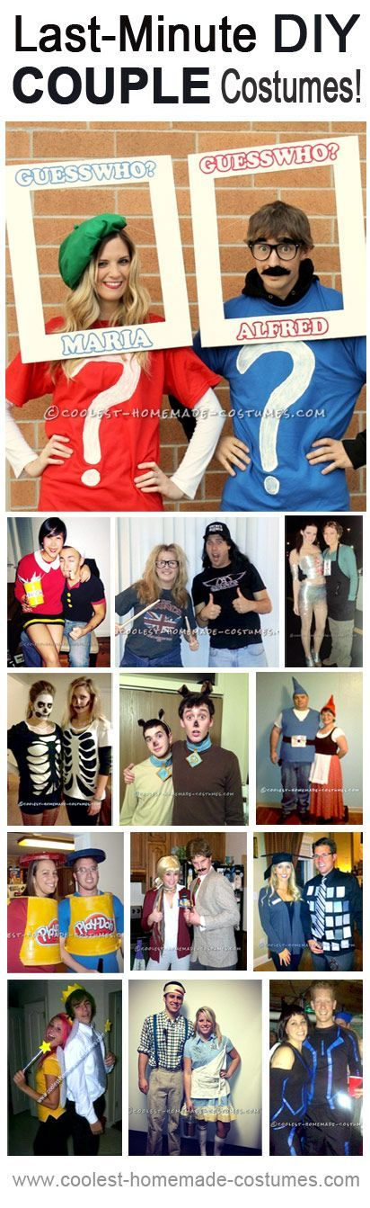 Last-Minute Halloween Couple Costumes! Repin for later... Enter Coolest Homemade Costume Contest at //ideas.coolest-homemade-costumes .com/submit  sc 1 st  Pinterest & Top 13 Last Minute Halloween Costume Ideas for Couples | Pinterest ...