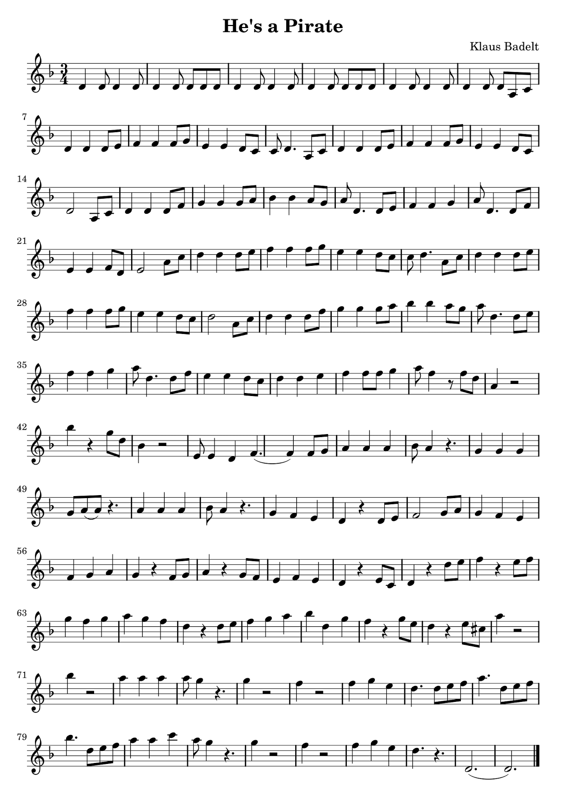 Sheet Music PDF: He's a Pirate LilyPond Source: He's a Pirate