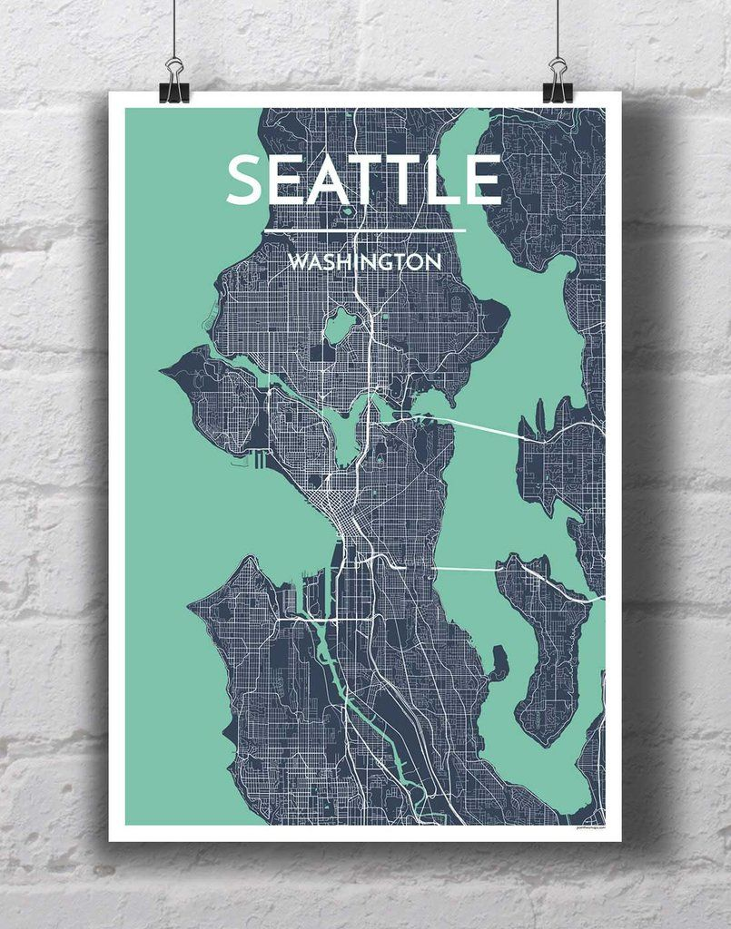 Seattle City Map City maps and Walls