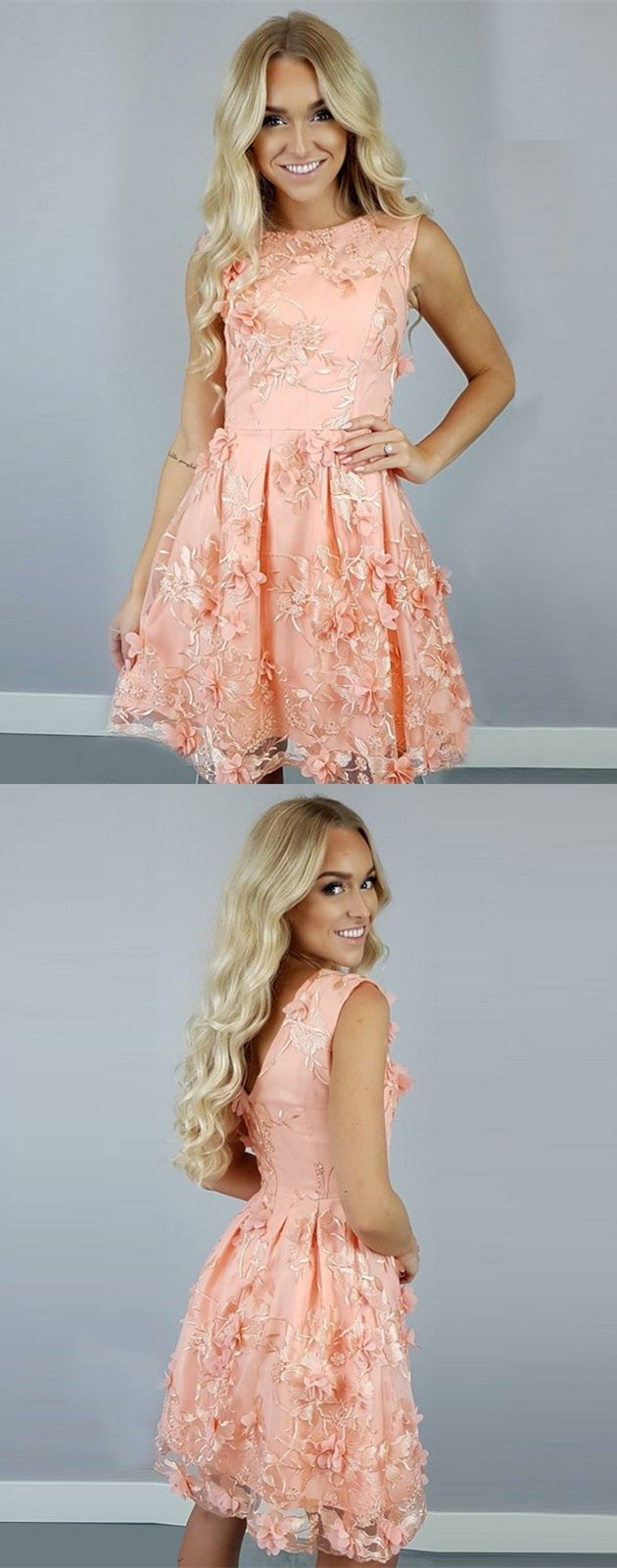 Aline bateau peach tulle short homecoming dress with flowers