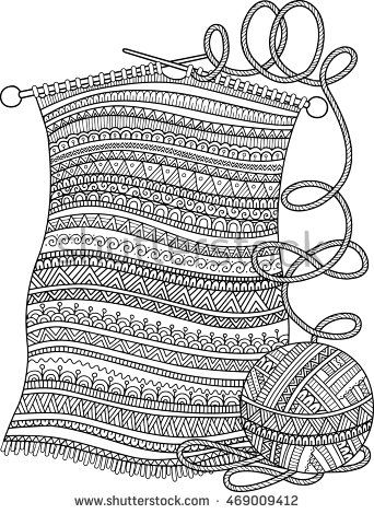 Vector coloring book for adult. Openwork knitted warm scarf ...
