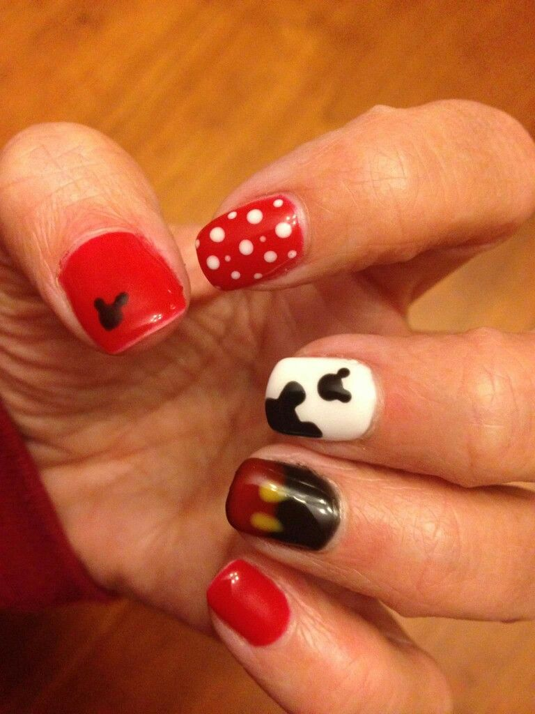 Fun Mickey Mouse gel nail art - big apple red - Disney nails ...