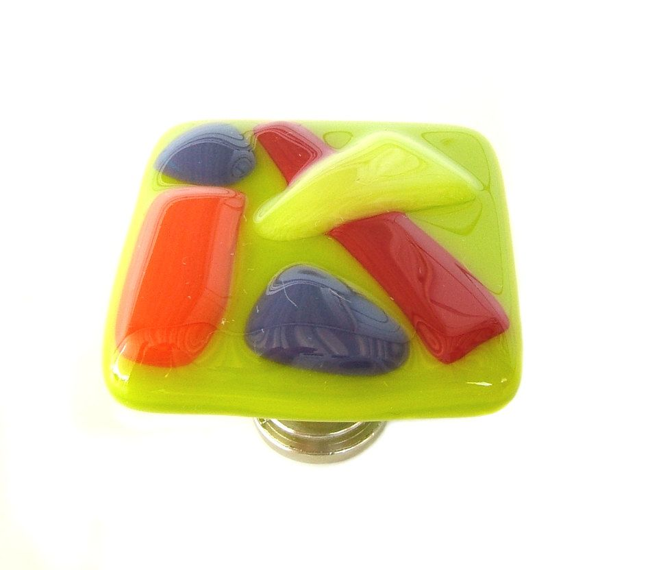 Lime Green Fun and Funky Fused Glass Cabinet Knob Hardware | Glass ...