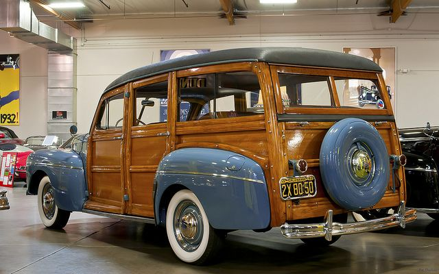 1942 Ford 21A Super Deluxe Station Wagon, Model 79B – light blue – rvl — Crevier Classics 046