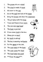 English Worksheet Phonics Oo  Reading Helps