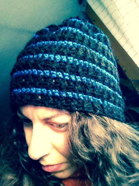 Gorro de lana rayas crochet punto elastico