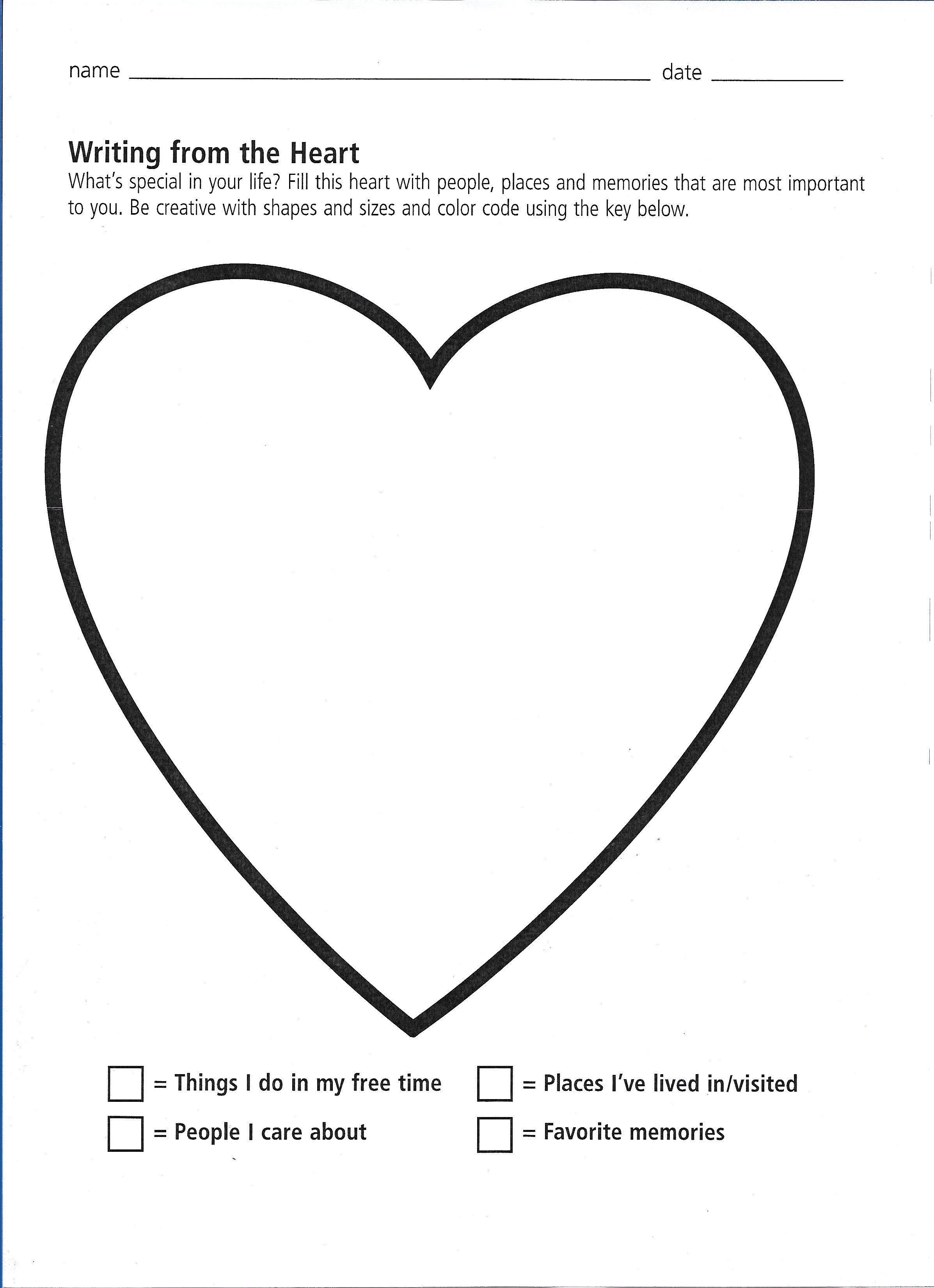 Writing From The Heart Worksheet