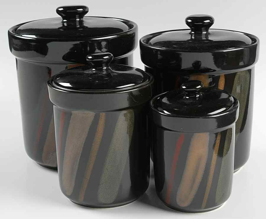 Crystal Canister Sets Sango Avanti Black 4 Piece Set Box