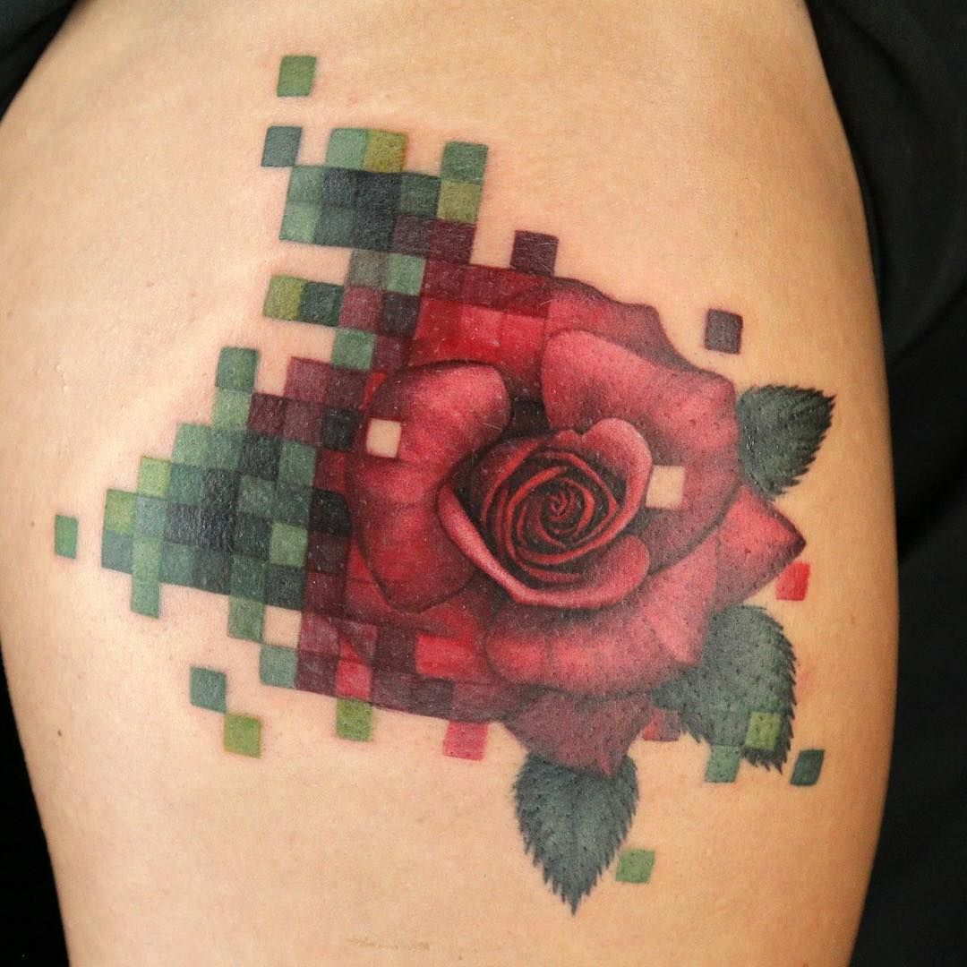 Pixelated Tats The combination of realism and pixelated