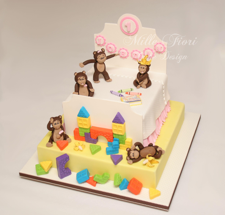 5 Little Monkeys Birthday Cake Mille Fiori Cake Design Pinterest