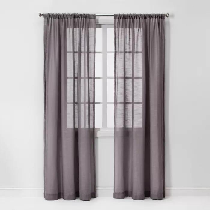 63 X54 Open Weave Sheer Window Curtain Panel Light Gray Project