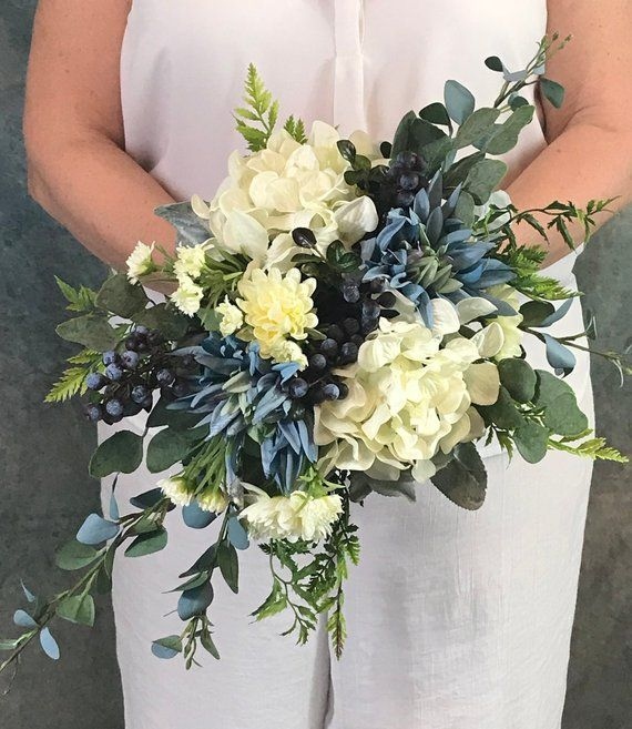 Something Blue Cascading Bridal Bouquet-Blueberries Silk Bridal Bouquet-Dahlias-Hydrangeas-Chrysanthemums-Blueberries-Steel Blue-Ice Blue #silkbridalbouquet
