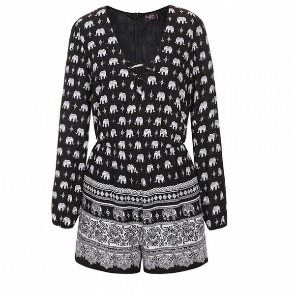 ade068451bf Ally Fashion Elephant border lace front playsuit ( 29) ❤ liked on Polyvore  featuring jumpsuits