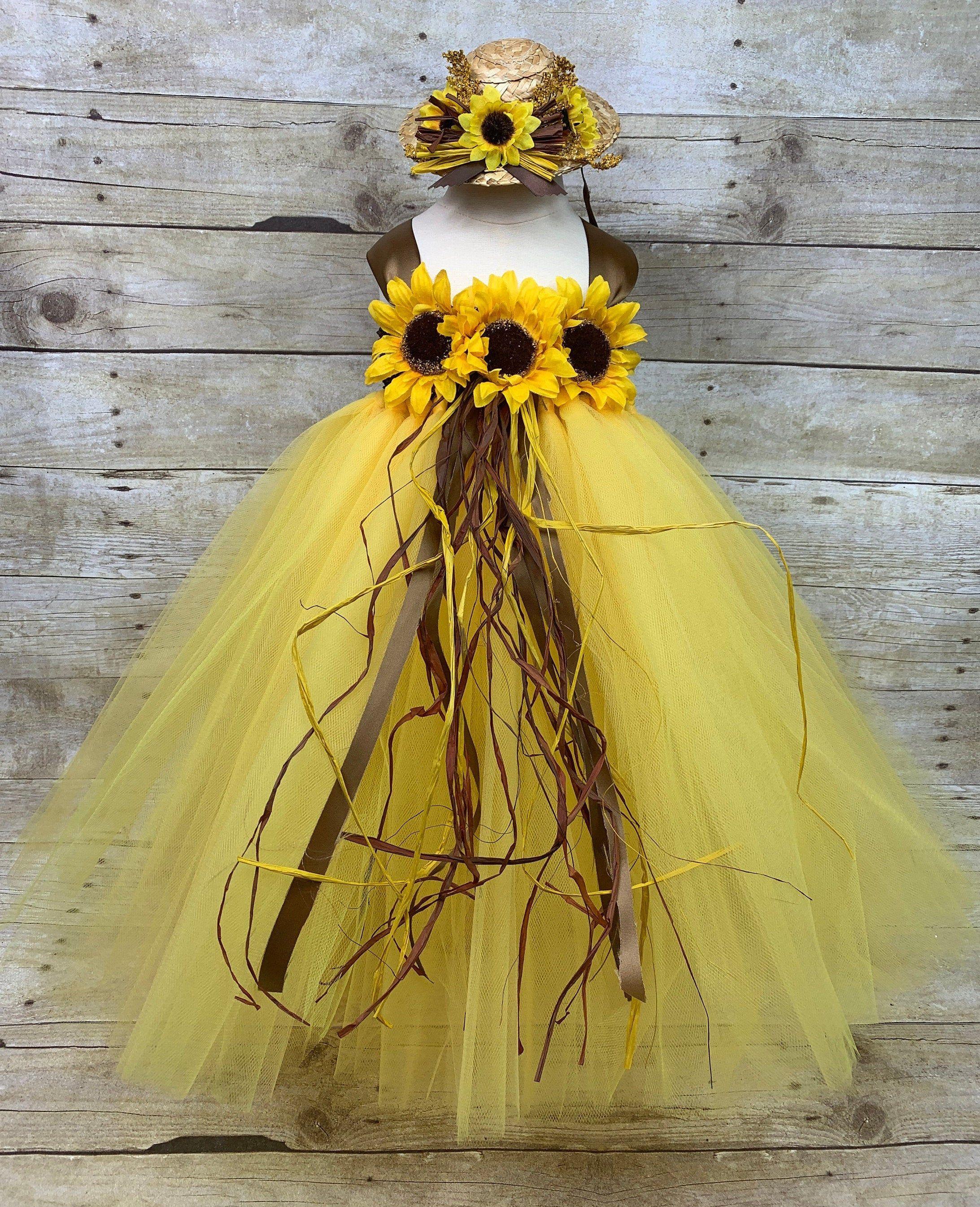 Sunflower Yellow Tutu Dress Headband 12 To 24 Mos 2t Baby Ready To Ship Fall Flower Girl Wedding Pageant Birthday Scarecrow Photo Fall Flower Girl Flower Girl Dresses Blue Yellow Tutu [ 2690 x 2185 Pixel ]