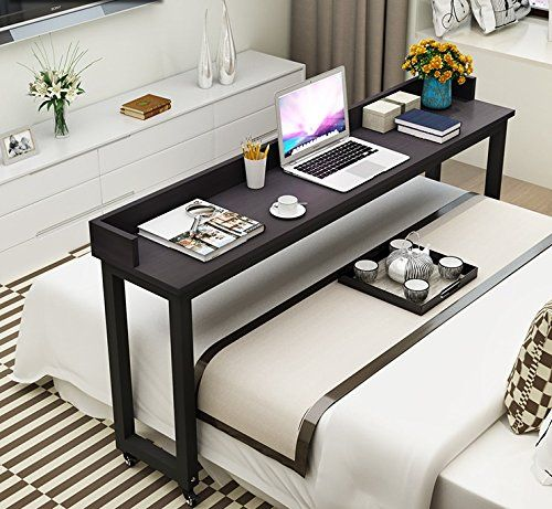 Overbed Table With Wheels Tribesigns Mobile Desk With Heavy Duty