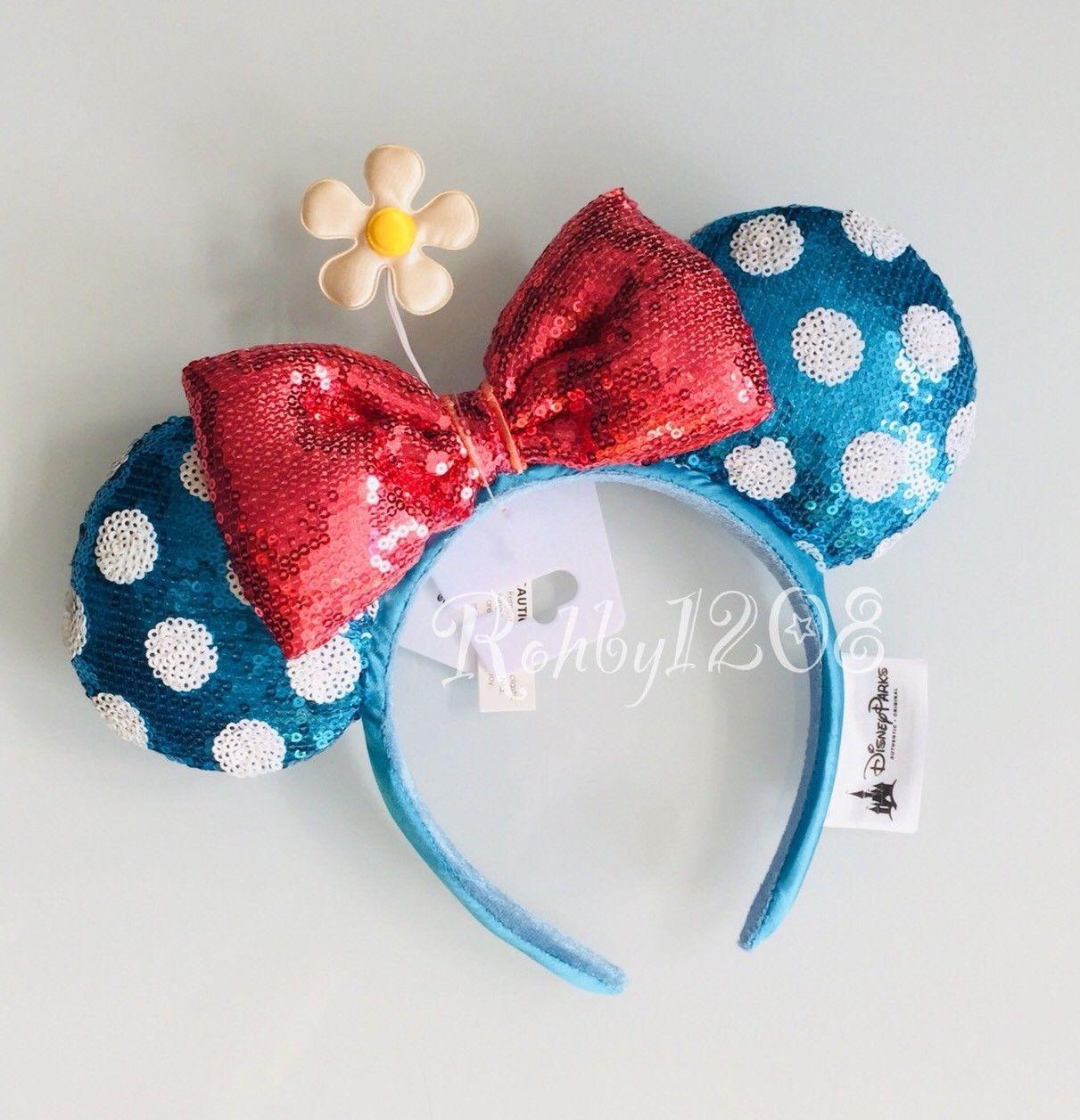Disney Blue Teal Sequin Polka Dot White Daisy Timeless Minnie Ears Headband