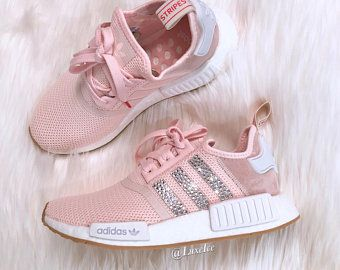 7124ffd6 Adidas NMD R1 Light Pink/White customized with SWAROVSKI® Xirius Rose-Cut  Crystals.